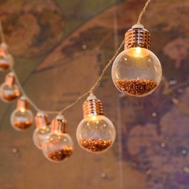 Deko-Lichterkette mit 10 Glühlampen aus Kunststoff mit Glitzer-Effekt, Ø 50 mm, LED warmweiß, batteriebetrieben, innen