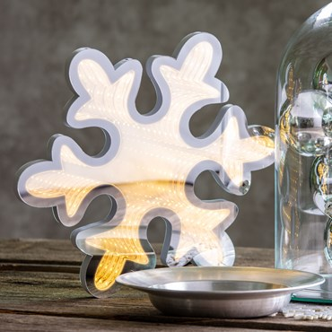 LED-Schneeflocke Infinity Mirror beidseitig, Ø 30 cm, warmweiß, innen
