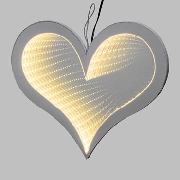 LED-Herz Infinity Mirror beidseitig, h 27 cm, warmweiß, innen