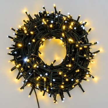 Lichterkette 18 m, 300 Mini LEDs Gold/Warmweiß und Kaltweiß, grünes Kabel
