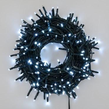 Guirlande lumineuse 18 m, 300 miniled blanc froid MultiFlash, câble vert