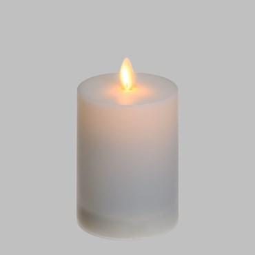 Solar LED Kerze weiß satiniert für außen, h. 11 cm, warmweiß