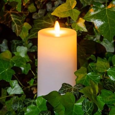 Solar LED Kerze weiß satiniert für außen, h. 14 cm, warmweiß