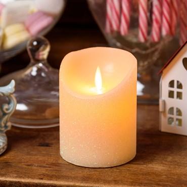 Pillar Candle, glittery ivory wax, h 10 cm, warm white LED