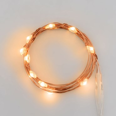 0.9m Battery String Lights, 10 Traditional Warm White MicroLEDs, Copper Metal Wire