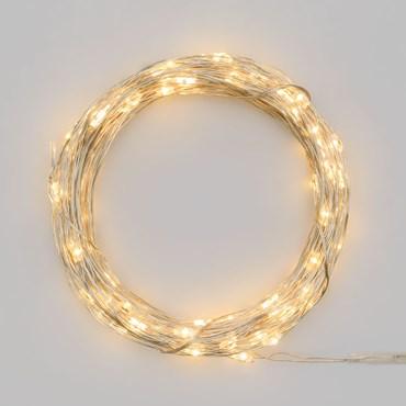 Guirlande lumineuse à piles 10 m, 100 microled blanc chaud, câble argenté, utilisation en extérieur