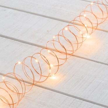 Lichterkette 3 m, 30 Micro LEDs extra warmweiß, Kupferdraht