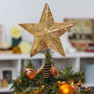 Estrella para árbol de Navidad luminosa cobre h. 30cm