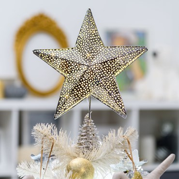 Baumspitze Stern aus silberfarbenem Metall Ø 25 cm x h 30 cm, 23 MicroLEDs warmweiß