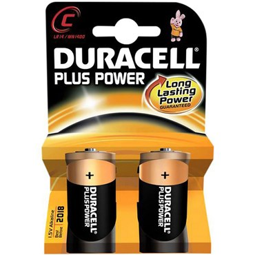 2 Batterien Typ C Duracell Plus Power