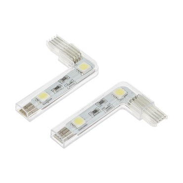 """2 Connettori Angolari a """"L"""", 2 led - bianco freddo"""