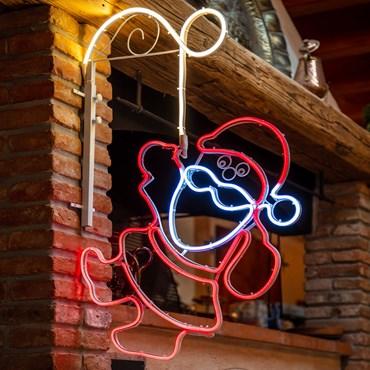 Lampe Père Noël accroché en tube lumineux double face effet néon, 105 cm, 566 led blanc froid chaud et rouge
