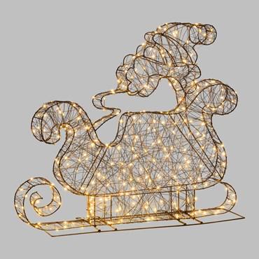 Weihnachtsmann mit Schlitten aus braunem Metall h 70 cm, 320 MicroLEDs warmweiß