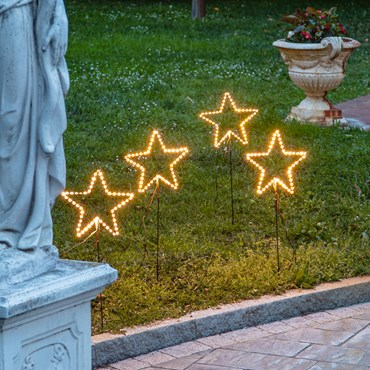 Set de 4 Estrellas luminosas con pie Strip Gold Led Ø 26cm