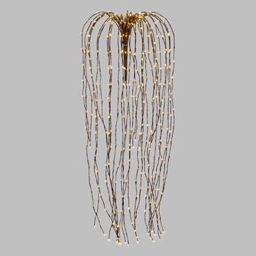 Branche de saule pleureur marron, h 120 cm, 480 microled blanc chaud, câble cuivré