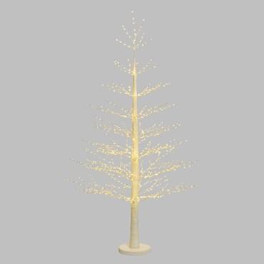 Weißer Kiefer LED Baum h 190 cm, 900 MicroLEDs warmweiß