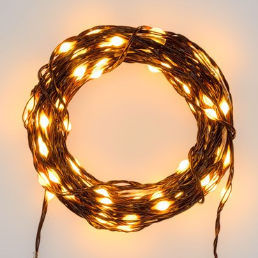 Guirlande lumineuse MicroLED PRO de 50 m, 500 microled haute luminosité blanc chaud traditionnel, câble marron