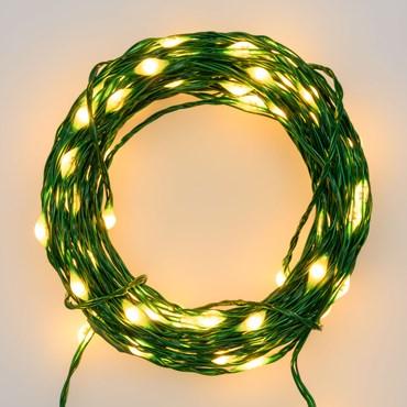 Professionelle Lichterkette 50 m, 500 MicroLEDs extra warmweiß, grüner Metalldraht