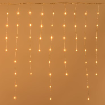 4 x H. 0.8m, 252 Traditional Warm White Ultra Bright MicroLEDs Icicle Lights, White Metal Wire, MicroLEDs Pro Series
