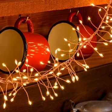 Festoon-Lichterkette 3 m, 360 MicroLEDs warmweiß, kupferfarbener Metalldraht