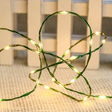 Lichterkette MicroLED PRO 25 m, 500 Micro LEDs warmweiß, grüner Metalldraht