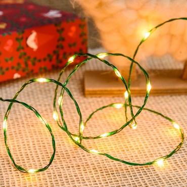 Lichterkette MicroLED PRO 25 m, 500 Micro LEDs extra warmweiß, grüner Metalldraht