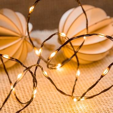 Lichterkette MicroLED PRO 25 m, 500 Micro LEDs extra warmweiß, brauner Metalldraht
