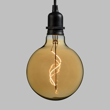 Suspension Ampoule vintage en verre, Globe Ø 125 mm, filament led blanc chaud