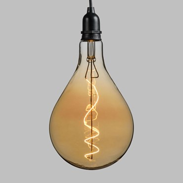 Suspension Ampoule en verre vintage, Maxi Poire Ø 160 mm, filament led blanc chaud