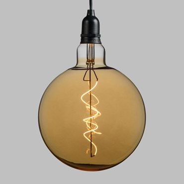 Suspension Ampoule vintage en verre, Globo Ø 200 mm, filament led blanc chaud