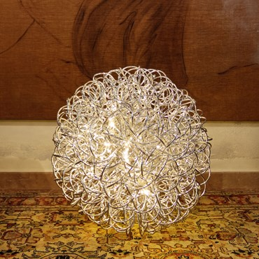 Sfera luminosa in alluminio argento Ø 60 cm, 200 led bianco caldo