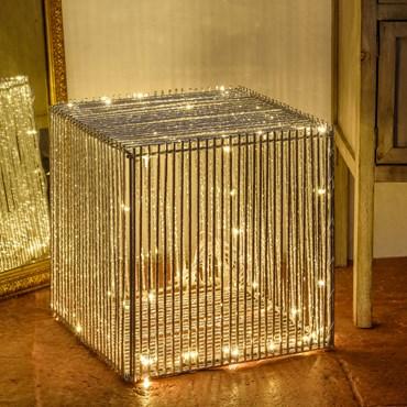 Cubo luminoso in alluminio argento 40 cm, 100 led bianco caldo