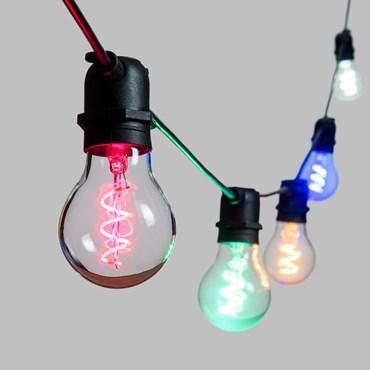 VINTAGE LED 36V, Vintage Glühbirnen Lichterkette mit LED Tropfen Birnen aus Glas Ø 6 cm, Spiral Filament Multicolor, schwarzes Kabel, erweiterbar