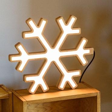 Design Wood Light, Flocon de neige en bois naturel, 30 cm, led blanc chaud, utilisation en intérieur