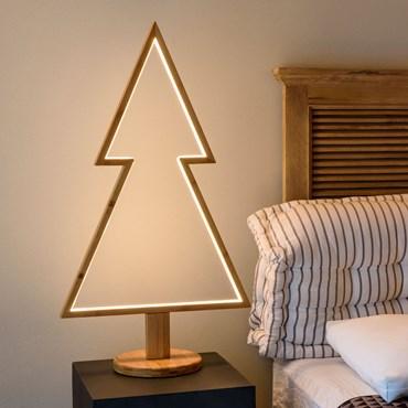 Design Wood Light, LED-Tannenbaum aus Naturholz auf Fuß, h 90 cm, warmweiß, innen