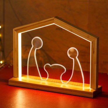 Design Wood Light, Crèche en Plexi et bois naturel avec base, h 23,5 cm, led blanc chaud, utilisation en intérieur