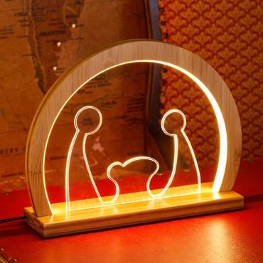 Design Wood Light, Nacimiento Plexiglás de madera natural con base, h. 26 cm, led blanco cálido, uso interior