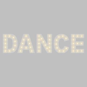Weiße Leuchtschrift DANCE, H. 90 cm, E14 LED Birnen Milky, warmweiß