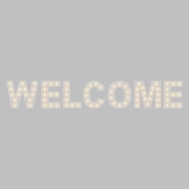 Weiße Leuchtschrift WELCOME, H. 90 cm, E14 LED Birnen Milky, warmweiß
