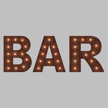 Rusty Metall Leuchtschrift BAR, H. 90 cm, E14 LED Filament Birnen, warmweiß
