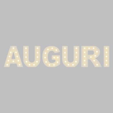 Scritta in metallo AUGURI, h. 60 cm, colore bianco, 58 lampadine led bianco caldo