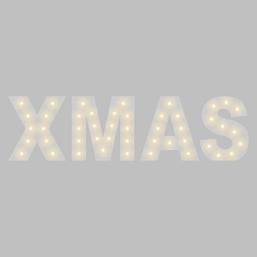 Letras de metal blanco XMAS, h. 90cm, 47 bombillas led blanco cálido