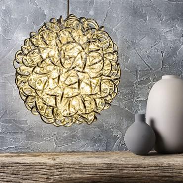 Silberne Leuchtkugel aus Alu-Röhren mit Glitzerbeschichtung, Ø 30 cm, 60 LEDs warmweiß, innen