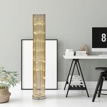 Colonne vase argenté 21 x h 140 cm, 100 led blanc chaud