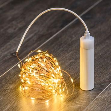 Batteriebetriebene Lichterkette mit USB-POWERBANK 9,9 m, 100 Micro LEDs warmweiß, Kupferdraht