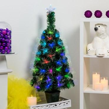 Sapin artificiel vert, fibre optique, 1 m, 95 led RGB Multicolor, PVC, avec vase vert