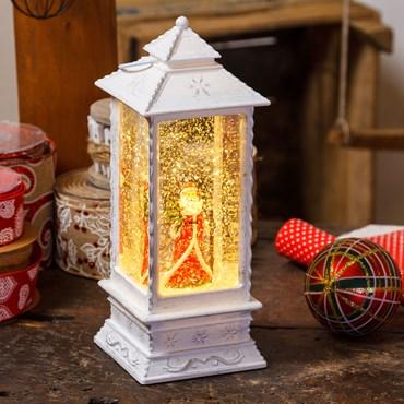 Lanterna natalizia bianco antico a batteria con nevicata e acqua in movimento, h 27,5 cm, led bianco caldo