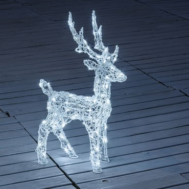 Renna in acrilico trasparente, h 65 cm, 80 led bianco freddo, timer