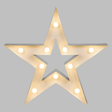 Estrella de metal blanco 90cm, con 10 portalámparas E14, bombillas no incluidas