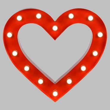 Corazón de metal rojo 90cm, con 14 portalámparas E14, bombillas no incluidas